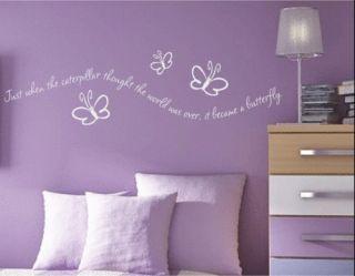 butterfly caterpillar girls wall quote nursery decal