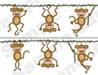 MONKEYS NURSERY BABY KIDS ROOM WALLPAPER BORDER STICKERS DECALS DECOR