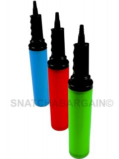 DUAL ACTION HANDY PARTY BALLOON PUMP BLUE,RED,GREEN NEW CHOOSE YOUR