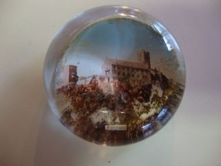 Wartburg Castle Germany Reverse Painted Souvenir Glass Paperweight OLD