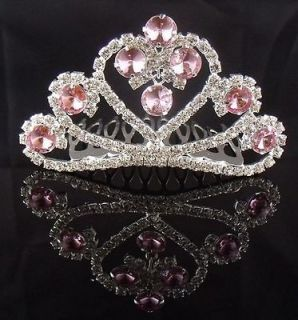 Wedding Bridal Pageant Pink crystal Lovely tiara crown Mini Comb