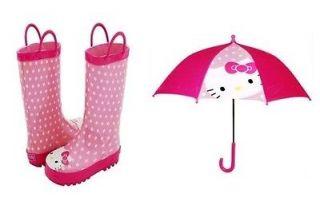 Western Chief Kids Hello Kitty Polka Dots Rainboots and Umbrella