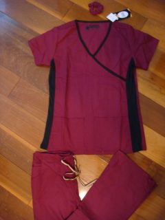 Fior Stretch Stylish Nursing Scrubs Set Wine Side Black Spandex XS S M
