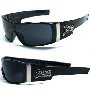 Locs Mens Cholo Biker Sunglasses   Shiny Black (Black Logo) LC71