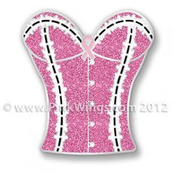 BRAND NEW Breast Cancer pink ribbon GLITTER bustier Bust pin pins f/s