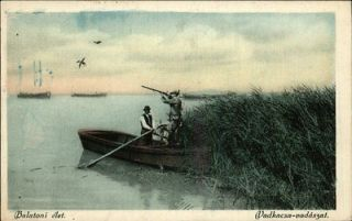 balatoni hungary duck hunting men in boat c1910 postcard time