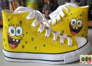 SpongeBob HandPainted Women Girls High top Canvas Sneakers Shoes YQ28