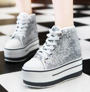 Womens Ladies Glitter Sequins Flat Platform Plimsolls Sneaker Shoes