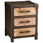 rustic iron and wood 3 drawer storage end table buy