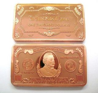 Troy oz Ounce COPPER $1000 One Thousand Dollar Bill Bar .999 Fine