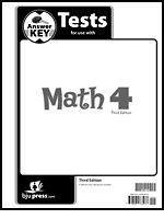 BJU Press Math 4 Test Answer Key (3rd ed.) Homeschool Bob Jones