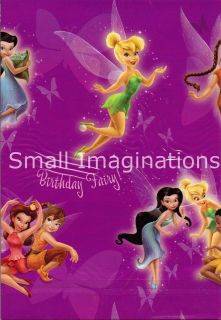Tinkerbell Birthday Gift Wrap 2 Sheets Wrapping Paper + Card Tags