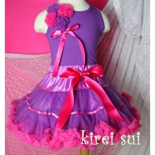 Purple Hot Pink Satin Binding Pettiskirt Christmas Dance Party Tutu 3