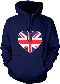 British Flag Heart Love Britain United Kingdom Olympics Mens Hoodie