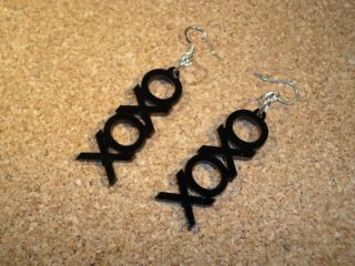 BLACK XOXO HUGS & KISSES HIPSTER EARRINGS PUNK RAT ROD CLUB SCENE HOT