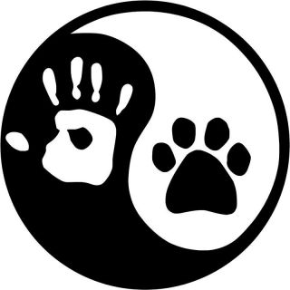 Ying and YANG DOG or CAT Paw & Hand Print decal Sticker LOGO Laptop