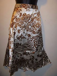 NWT Sexy Brown & White Exotic Zebra & Roses Print Silky Skirt MEDIUM
