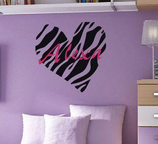 Name Zebra Print Heart Vinyl Wall Art Sticker Decal Kids Decor
