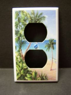 Palm Tree Tropical Beach 10 Outlet Cover Plate