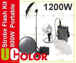 1200W Dual Power Portable Studio Flash Strobe Light Kit 2 x 600W