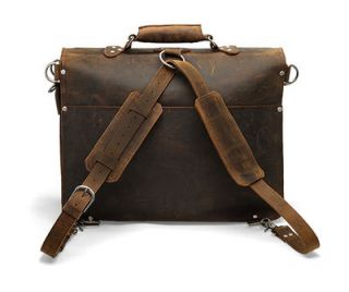 Extra Large 18 Classic Leather Briefcase Backpack Messenger Bag