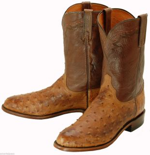 374 Used Vintage Lucchese 1883 Ostrich Roper Cowboy Boots Mens 10 5 D