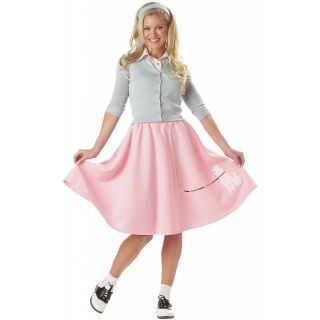 Pink Poodle Skirt Adult Womens 1950s Halloween Costume Std Plus Size