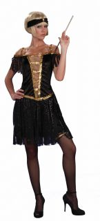 Roaring 20s Flapper Black Dress Costume Adult Med LG