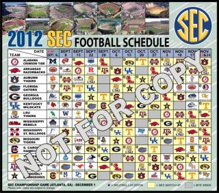 2012 Football Schedule Magnet Alabama Crimson Tide Arkansas Razorbacks
