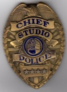 20th CENTURY FOX Movie STUDIO Vintage POLICE CHIEF OFFICER Brass Badge