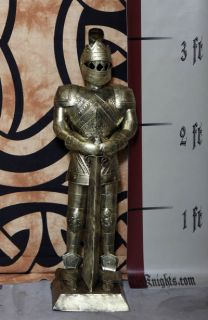 Foot Gold Suit of Armor Medieval Knight in Long Sword Down Stance