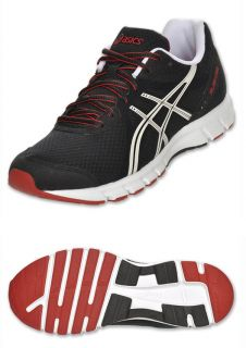 Asics Mens Rush 33 Black White Red Running Shoes Sz 12