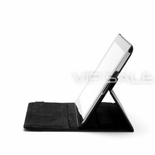 IPAD 3 BLACK LEATHER CASE WITH 360 ROTATING STAND + SCREEN PROTECTOR
