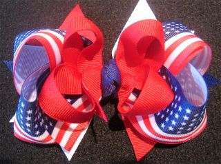American Flag Boutique Hair Bow Patriotic 4th of July
