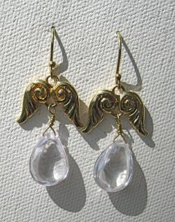 Temple St. Clair Angel Wings & Teardrops Earrings NWT