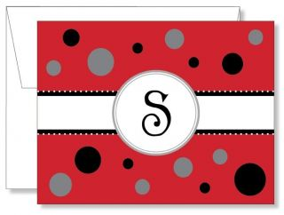 12 Custom Personalized Cotton Candy Red Monogram Thank You Note Cards