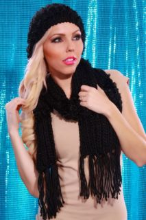BLACK RIBBED KNIT BEANIE MATCHING SCARF SET @ Amiclubwear Earring