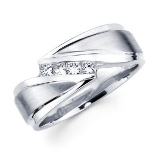 14k White Gold Mens Diamond Wedding Band Ring 0 32ct