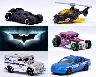Batman Dark Knight 5 Pack Cars Hot Wheels Mattel Christian Bale 2012