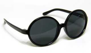 Retro Style Extra Large Huge Round Black Frame Sunglasses