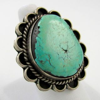 Large Navajo Sterling Silver Number 8 Turquoise Ring Sz 8 75 RS E