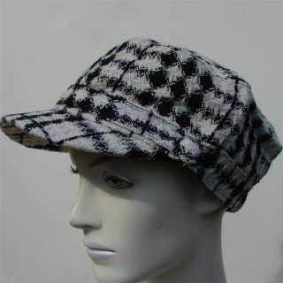 David Young Womens Ladies Hat Cap Newsboy Cabbie Black White