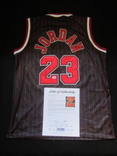 Michael Jordan Signed Black Pinstripe Chicago Bulls Jersey PSA DNA LOA