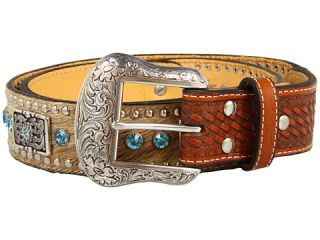 Nocona Hair Calf Belt with Studs, Rhinestones and Rectangle Conchos