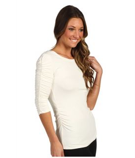 Vince Camuto Essentials 3/4 Sleeve Rouched Scoop Neck Tee