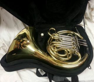 MARINELLI 6444L DOUBLE FRENCH HORN W LEATHER WRAP & CASE   NICE