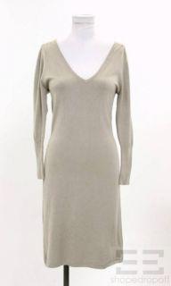 BCBG Max Azria Tan Knit V Neck Sweater Dress Size Medium