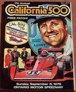 1976 California 500 Indy Car Program Ontario A J Foyt