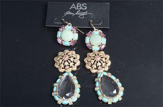 ABS Allen Schwartz Gold Tone Amethyst Turquoise Crystal Hook Post