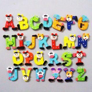Child Educational Toy 26x Colorful Kids Wooden Alphabet Fridge Magnet